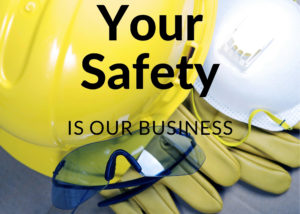 Hard hat and gloves and safety glasses