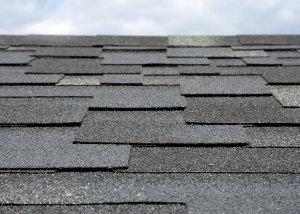 closeup of a roof's shingles